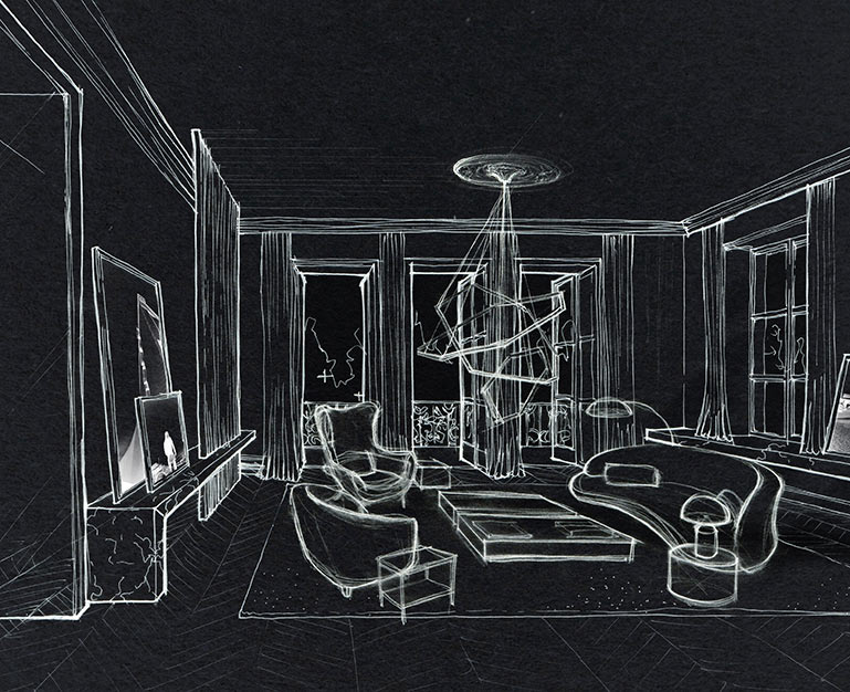 Ula Burgiel Interior Designer Photographer living in London hand sketching Belgravia Chelsea