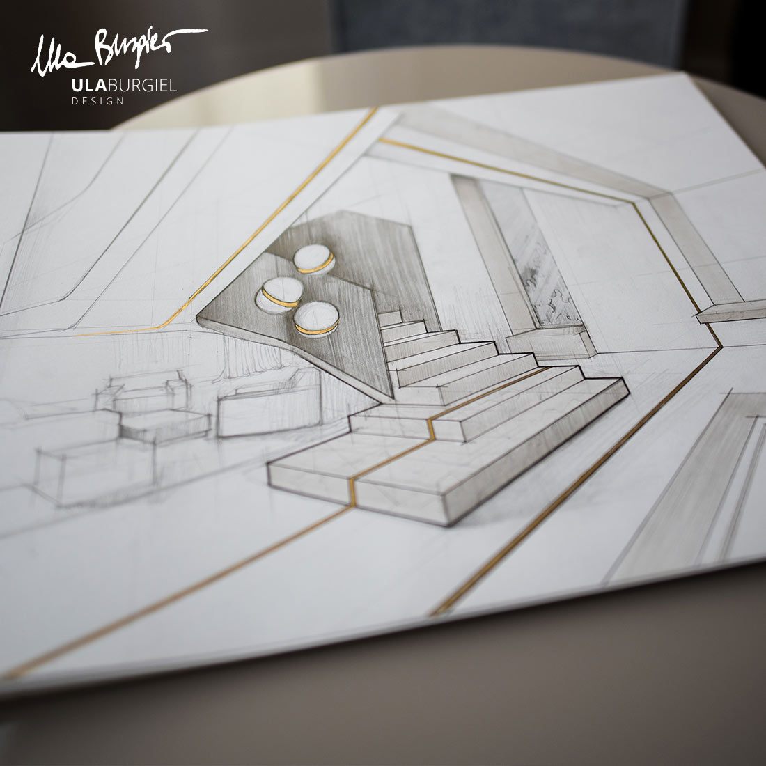 Interior design detail - sketch & design by Ula Burgiel